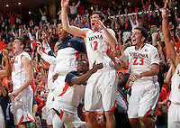 Virginia players react in the final seconds of the 75-56 win over Syracuse for the ACC title Saturday March 1, 2014 in Charlottesville, VA. Photo/Andrew Shurtleff