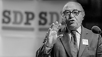SDP leader, Roy Jenkins, with party motif as a backdrop, addresses annual conference in Cardiff, Wales, UK, October, 1982, 198210000195a<br /><br />Copyright Image from Victor Patterson, 54 Dorchester Park, <br />Belfast, UK, BT9 6RJ<br /><br />t1: +44 28 9066 1296 (from Rep of Ireland 048 9066 1296)<br />t2: +44 28 9002 2446 (from Rep of Ireland 048 9002 2446)<br />m: +44 7802 353836<br /><br />victorpatterson@me.com<br />www.victorpatterson.com<br /><br />Please see my Terms and Conditions of Use at VICTORPATTERSON.COM. It is IMPORTANT that you familiarise yourself with them.<br /><br />Images used on the Internet must be visibly watermarked i.e. &copy;VICTORPATTERSON.COM within the body of the image and copyright metadata must not be deleted. Images used on the Internet have a size restriction of 4kbs and are chargeable at the then current NUJ rates.<br /><br />This image is only available for the use of the download recipient i.e. television station, newspaper, magazine, book publisher, etc, and must not be passed on to any third party. It is also downloaded on condition that each and every usage is notified within 7 days to victorpatterson@me.com<br /><br />The right of Victor Patterson to be identified as the author is asserted in accordance with The Copyright Designs And Patents Act (1988).