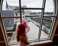 LOUISVILLE, KY - MAY 05: A woman looks out the window on Kentucky Oaks Day at Churchill Downs on May 5, 2017 in Louisville, Kentucky. (Photo by Scott Serio/Eclipse Sportswire/Getty Images)