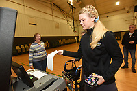 NWA Democrat-Gazette/FLIP PUTTHOFF <br /> Esther Seim of Bentonville checks casts her ballot Tuesday March 12 2019 during the sales tax election to fund a new Benton County courthouse and upgrades to the existing courthouse. Seim voted at the Bentonville Church of Christ.