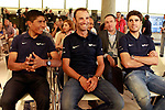 The leaders of Movistar Team, Nairo Quintana, Alejandro Valverde and Mikel Landa during the press conference before to the start of the Tour de France. June 18, 2018. (ALTERPHOTOS/Acero)