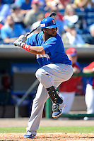 Dominican Republic catcher Carlos Santana #41 during a Spring Training game against the Philadelphia Phillies at Bright House Field on March 5, 2013 in Clearwater, Florida.  The Dominican defeated Philadelphia 15-2.  (Mike Janes/Four Seam Images)