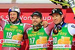 Aksel Lund SVINDAL, Kjetil JANSRUD, Andre Myhrer competes during the FIS Alpine Ski World Cup Men's Parallel Giant Slalom in Alta Badia, on December 21, 2015. Norway's Kjetil Jansrud wins the race, Aksel Lund Svindal second and Sweden's Andre Myrher is third.