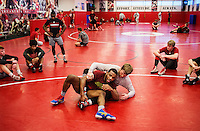Olympic Gold champion wrestler Jordan Burroughs (cq) during wrestling practice at the University of Nebraska in Lincoln, Nebraska, Friday, February 12, 2015. Burroughs still trains at the university where he wrestled as a student.<br /> <br /> Photo by Matt Nager