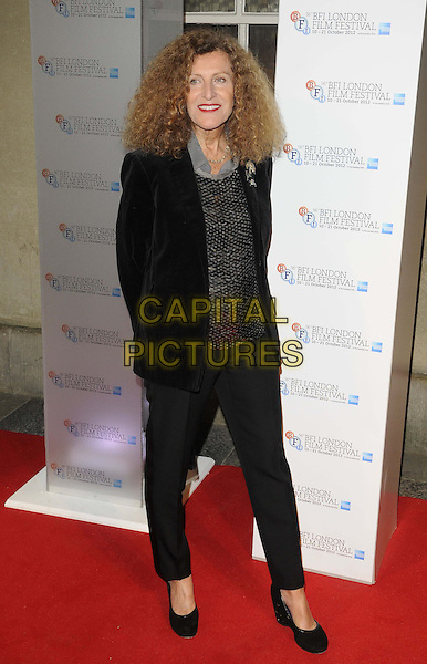 Nicole Farhi.attended the 56th BFI London Film Festival Awards 2012, Banqueting House, Whitehall, London, England, UK, 20th October 2012..full length black trousers jacket silver sequined sequin top shirt .CAP/CAN.©Can Nguyen/Capital Pictures.