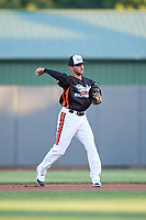 Aberdeen IronBirds second baseman Alexis Torres (35) throws to first base during a game against the Staten Island Yankees on August 23, 2018 at Leidos Field at Ripken Stadium in Aberdeen, Maryland.  Aberdeen defeated Staten Island 6-2.  (Mike Janes/Four Seam Images)