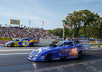 Jun 11, 2017; Englishtown , NJ, USA; NHRA funny car driver Jack Beckman (near) defeats teammate Ron Capps in the final round of the Summernationals at Old Bridge Township Raceway Park. Mandatory Credit: Mark J. Rebilas-USA TODAY Sports
