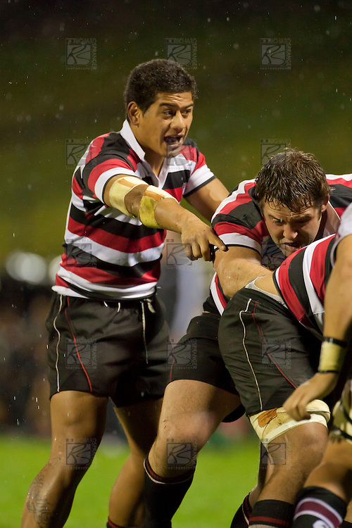 August Pulu directs the forwards during a maul. Counties Manukau Steelers pre season ITM Cup game against North Harbour played at Bayer Growers Stadium Pukekohe on Wednesday July 21st 2010..North Harbour won 22 - 21.