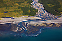 Aerial view of river delta on Katmai Peninsula; Salmon swim up this river to spawn; brown bears can be seen fishing at this river during salmon runs; Alaska
