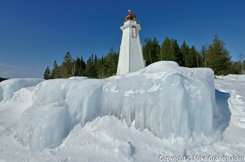 Big Tub lighthouse in winter on Georgian Bay<br /> Tobermory<br /> Ontario<br /> Canada
