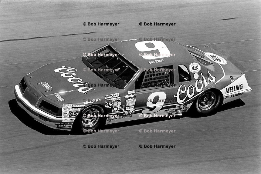 DAYTONA BEACH, FL - FEBRUARY 17: Bill Elliott drives the Harry Melling Ford Thunderbird during the Daytona 500 NASCAR Winston Cup race at the Daytona International Speedway in Daytona Beach, Florida, on February 17, 1985.