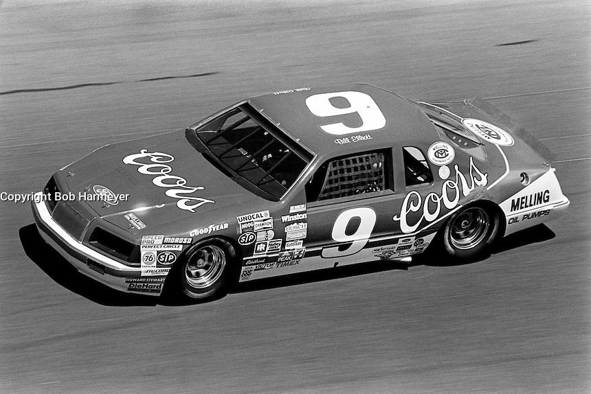 DAYTONA BEACH, FL - FEBRUARY 17: Bill Elliott drives the Harry Melling Ford Thunderbird during the Daytona 500 NASCAR Winston Cup race at the Daytona International Speedway in Daytona Beach, Florida, on February 17, 1985.