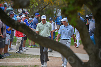Matt Kuchar (USA) and Jim Furyk (USA) share a laugh on their way to the tee on 2 during day 2 of the Valero Texas Open, at the TPC San Antonio Oaks Course, San Antonio, Texas, USA. 4/5/2019.<br /> Picture: Golffile | Ken Murray<br /> <br /> <br /> All photo usage must carry mandatory copyright credit (© Golffile | Ken Murray)