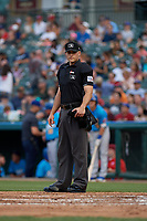 Umpire Andrew Barrett during a Texas League game between the Amarillo Sod Poodles and Frisco RoughRiders on May 17, 2019 at Dr Pepper Ballpark in Frisco, Texas.  (Mike Augustin/Four Seam Images)