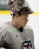 Thomas McCollum (US Blue - 35) - US players take part in practice on Friday morning, August 8, 2008, in the NHL Rink during the 2008 US National Junior Evaluation Camp and Summer Hockey Challenge in Lake Placid, New York.