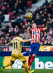 Jose Maria Gimenez de Vargas (R) of Atletico de Madrid competes for the ball with Francisco Aday Benitez of Girona FC during the La Liga 2017-18 match between Atletico de Madrid and Girona FC at Wanda Metropolitano on 20 January 2018 in Madrid, Spain. Photo by Diego Gonzalez / Power Sport Images