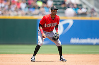 Indianapolis Indians third baseman Pedro Florimon (13) on defense against the Charlotte Knights at BB&T BallPark on June 19, 2016 in Charlotte, North Carolina.  The Indians defeated the Knights 6-3.  (Brian Westerholt/Four Seam Images)