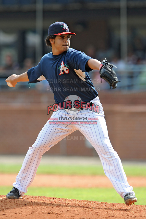Leuris Gomez during a game against the Greenville Drive at McCormick Field, Asheville, NC August 15, 2010. Greenville won the game 10-6.