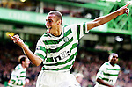 2004, HENRIK LARSSON CELEBRATES SCORING FOR CELTIC AT CELTIC PARK, GLASGOW, ROB CASEY PHOTOGRAPHY.