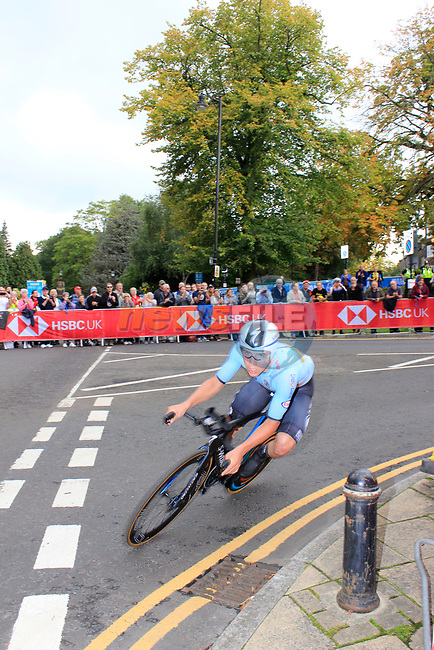 Remco Evenepoel (BEL) in action during the Men Elite Individual Time Trial of the UCI World Championships 2019 running 54km from Northallerton to Harrogate, England. 25th September 2019.<br /> Picture: Andy Brady | Cyclefile<br /> <br /> All photos usage must carry mandatory copyright credit (© Cyclefile | Andy Brady)