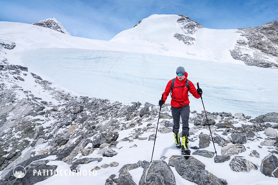 An acclimatization day for Ueli Steck and David Göttler during their climbing expedition to the 8000 meter peak Shishapangma, Tibet. From basecamp the two were able to hike in snow to 6200 meters.