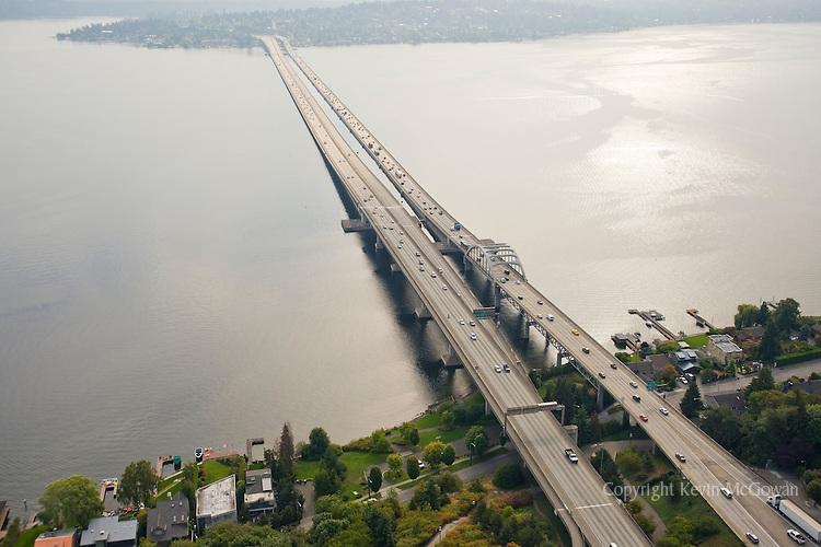 Aerial view of I-90 floating bridges spanning Lake Washington from Seattle to Mercer Island