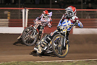 Heat 11: Kim Nilsson (red)and Ryan Sullivan - Lakeside Hammers vs Peterborough Panthers - Sky Sports Elite League Speedway at Arena Essex Raceway, Purfleet - 14/09/12 - MANDATORY CREDIT: Gavin Ellis/TGSPHOTO - Self billing applies where appropriate - 0845 094 6026 - contact@tgsphoto.co.uk - NO UNPAID USE.