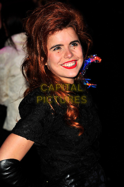 "PALOMA FAITH.The UK Premiere of ""The Imaginarium Of Doctor Parnassus"" at the Empire Leicester Square, London, England..October 6th 2009.half length smiling red lipstick stones crystals make-up black sequined sequin blue bird on shoulder dress .CAP/CJ.©Chris Joseph/Capital Pictures."