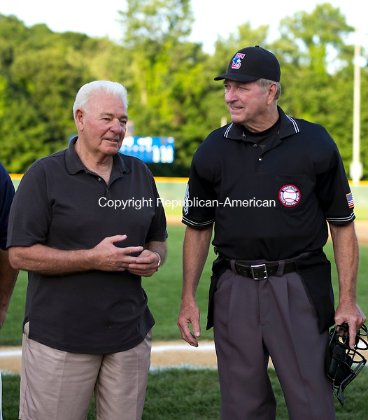 Waterbury, CT- 04 August 2016-080416CM11-  Jack Nocera, left, and Elmer Deschaine are recognized at Municipal Stadium in Waterbury on Thursday. A ceremony was held at the Stadium recognizing players who went to the Musial World Series when it was in Battle Creek, Michigan.      Christopher Massa Republican-American