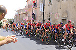 The peloton pass through Ala dei Sardi Stage 2 of the 100th edition of the Giro d'Italia 2017, running 221km from Olbia to Tortoli, Sardinia, Italy. 6th May 2017.<br /> Picture: Ann Clarke | Cyclefile<br /> <br /> <br /> All photos usage must carry mandatory copyright credit (&copy; Cyclefile | Ann Clarke)