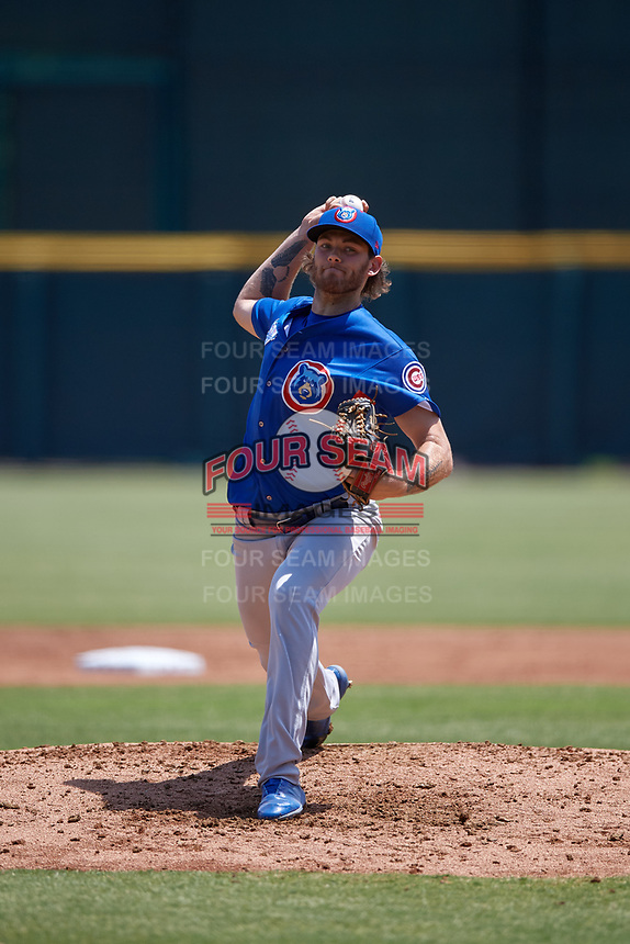 Tennessee Smokies starting pitcher Zach Hedges (12) during a Southern League game against the Jacksonville Jumbo Shrimp on April 29, 2019 at Baseball Grounds of Jacksonville in Jacksonville, Florida.  Tennessee defeated Jacksonville 4-1.  (Mike Janes/Four Seam Images)