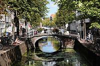 Nederland Delft - Augustus 2018. Gracht in de binnenstad van Delft.   Foto Berlinda van Dam / Hollandse Hoogte