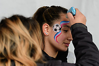 Harrison, NJ - Sunday March 04, 2018: Fans, face paint during a 2018 SheBelieves Cup match match between the women's national teams of the United States (USA) and France (FRA) at Red Bull Arena.