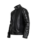 Black leather mens jacket isolated on white background