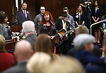 Sheree and Will Rosevear perform on the Assembly floor during opening day ceremonies at the Legislative Building in Carson City, Nev., on Monday, Feb. 2, 2015. (Cathleen Allison/Las Vegas Review-Journal)