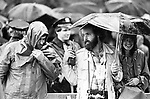 Dick Drew, among t he Journalists, waiting the arrival of, Pope John Paul II, on a rainy day, at Battery Park, in the Borough of Manhatten, New York City, NY on October 3, 1979. Photo by Jim Peppler. Copyright/Jim Peppler/1979