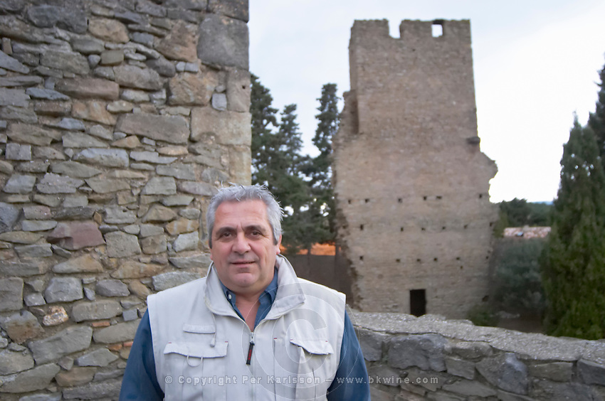 Jean-Louis Poudou and The Tower. Domaine La Tour Boisee. In Laure-Minervois. Minervois. Languedoc. Owner winemaker. France. Europe.