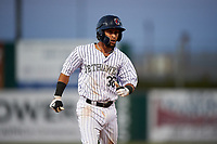 Lancaster JetHawks second baseman Carlos Herrera (36) hustles to third base during a California League game against the Visalia Rawhide at The Hangar on May 17, 2018 in Lancaster, California. Lancaster defeated Visalia 11-9. (Zachary Lucy/Four Seam Images)
