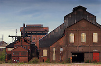 STEEL: Forground The Weldment Building ( where internal repairs and fabrication take place) and the ( rear very tall) # 5 high hosue stand in the Lehigh Plant section of Bethlehem Steel ( CHUCK ZOVKO / TMC)