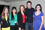 Elle McLemore, Alice Lee, Jessica Keenan Wynn, Ryan McCartan and Barrett Wilbert Weed attend the Meet & Greet the stars and creative team of 'Heathers The Musical' on February 19, 2014 at The Snapple Theatre Center in New York City.