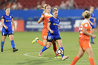 Frisco, TX - Sunday September 03, 2017: Kristie Mewis, Jess Fishlock during a regular season National Women's Soccer League (NWSL) match between the Houston Dash and the Seattle Reign FC at Toyota Stadium in Frisco Texas. The match was moved to Toyota Stadium in Frisco Texas due to Hurricane Harvey hitting Houston Texas.