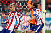 Griezman and Godin of Atletico de Madrid during La Liga match between Atletico de Madrid and Villarreal at Vicente Calderon stadium in Madrid, Spain. December 14, 2014. (ALTERPHOTOS/Caro Marin) /NortePhoto