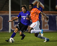 The number 24 ranked Furman Paladins took on the number 20 ranked Clemson Tigers in an inter-conference game at Clemson's Riggs Field.  Furman defeated Clemson 2-1.  Jacob Brown (3), Richard Robinson (27)