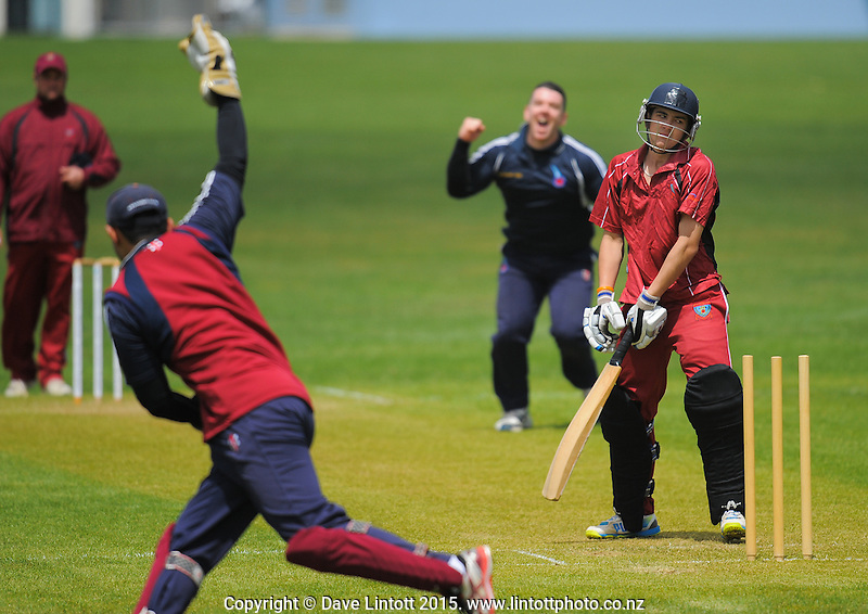 Action from the Ewen Chatfield Trophy Wellington premier men's club cricket match between Eastern Suburbs and Wellington Under-19 at Kilbirnie Park,  Wellington, New Zealand on Saturday, 14 October 2015. Photo: Dave Lintott / lintottphoto.co.nz