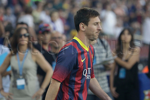 02.08.2013 Barcelona, Spain. Joan Gamper Trophee. Picture shows Leo Messi in action during game between FC Barcelona against Santos at Camp Nou
