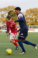 Nathan Ferguson of Dulwich Hamlet is closely marshalled by Jimmy Shepherd of Harlow Town during Harlow Town vs Dulwich Hamlet, Buildbase FA Trophy Football at The Harlow Arena on 11th November 2017