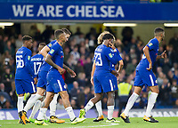 Michy Batshuayi of Chelsea celebrates his hat trick with his team mates, Carabao Cup, Third Round, Chelsea v Nottingham Forrest, Stamford Bridge, London, United Kingdom, 20th  September 2017
