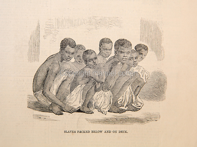 Slaves packed below and on deck, showing the cramped position the slaves were forced to adopt in the slave ship, illustration from the Illustrated London News, 20th June 1857, engraving after a photograph. In April 1857 a British naval vessel captured the slave ship Zeldina and brought it to Port Royal, Jamaica, freeing the 370 survivors of the 500 Africans who boarded in Angola 46 days earlier. The slaves had been kept in appalling squalid conditions, which were outlined in a letter to the editor which accompanied several illustrations. Copyright © Collection Particuliere Tropmi / Manuel Cohen