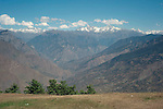 View of the Parvati Valley from the ridge near the Bijli Mahadev Temple above the town of Kullu , Himachal Pradesh, India.