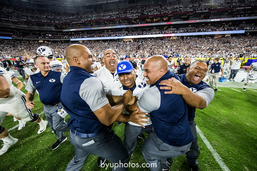 16FTB at Arizona 3196<br /> <br /> 16FTB at Arizona - Cactus Kickoff<br /> <br /> BYU Football defeated Arizona 18-16 in the Cactus Kickoff hosted at the University of Phoenix Stadium in Glendale, Arizona. It was also the first win for new Head Coach Kalani Sitake. <br /> <br /> September 4, 2016<br /> <br /> Photo by Jaren Wilkey/BYU<br /> <br /> © BYU PHOTO 2016<br /> All Rights Reserved<br /> photo@byu.edu  (801)422-7322